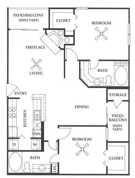 1,085 sq. ft. B2 floor plan