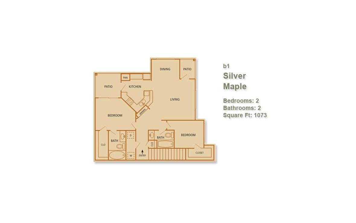 1,025 sq. ft. Sugar Maple floor plan