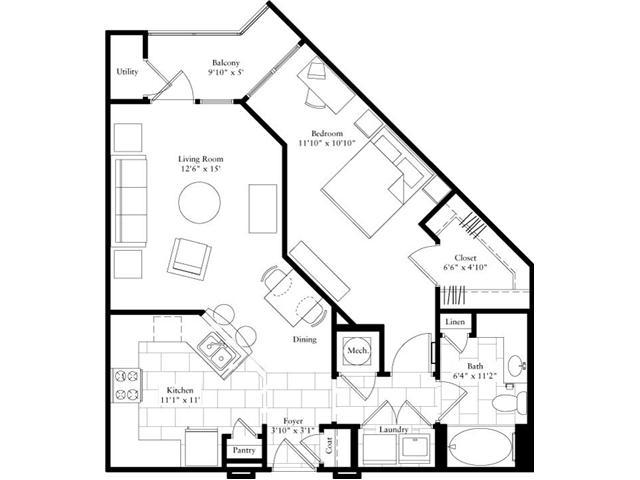 786 sq. ft. floor plan
