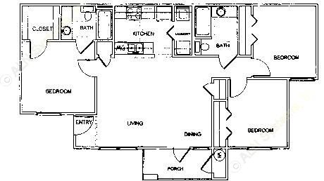 1,087 sq. ft. C1 MKT 2 floor plan