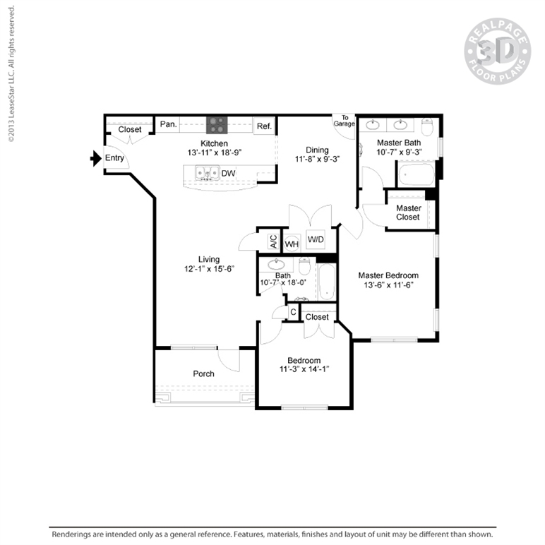 1,321 sq. ft. B2 floor plan