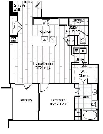 995 sq. ft. A8.1 floor plan
