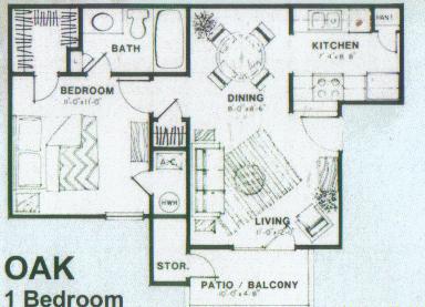 531 sq. ft. Oak floor plan