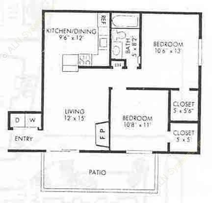 800 sq. ft. B-1 floor plan