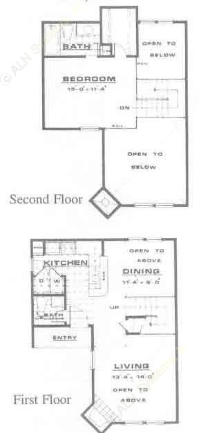 839 sq. ft. A3 floor plan