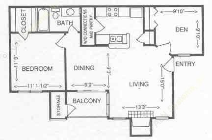 779 sq. ft. 2A floor plan