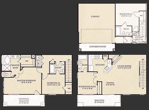 1,510 sq. ft. C1U floor plan