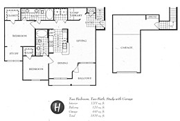 1,356 sq. ft. H floor plan