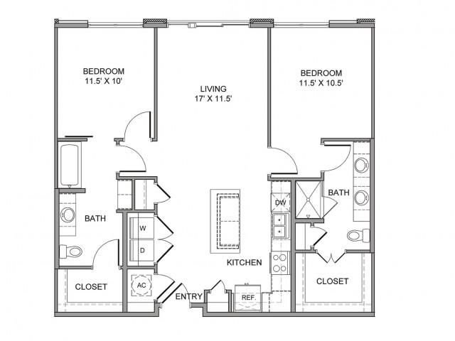 1,099 sq. ft. Field floor plan