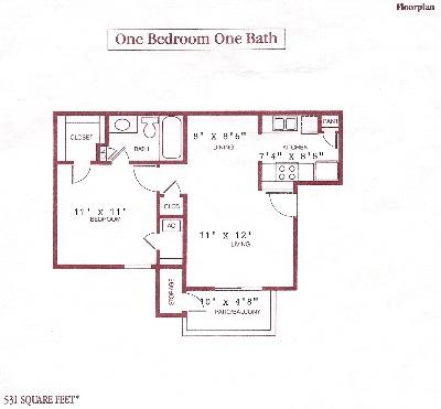 531 sq. ft. floor plan