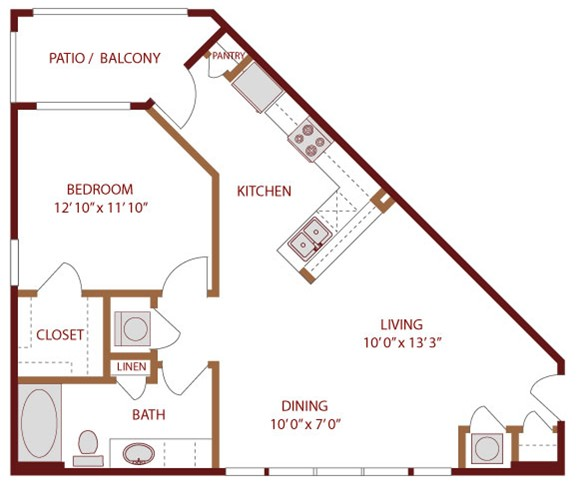 756 sq. ft. Lake Austin floor plan