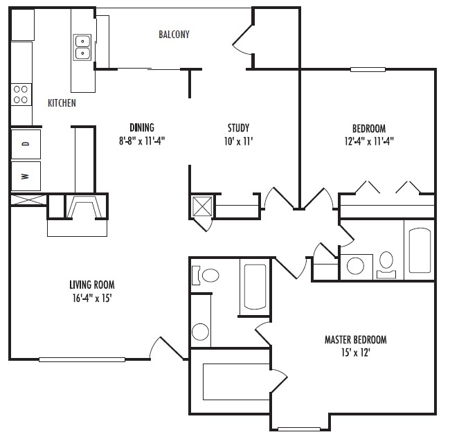 1,242 sq. ft. D floor plan