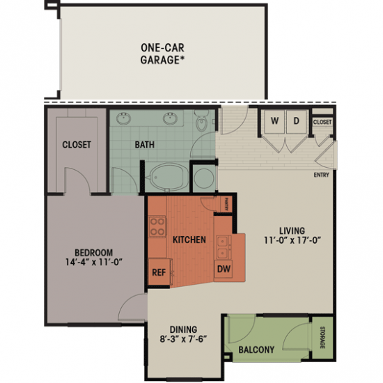 858 sq. ft. A1 floor plan