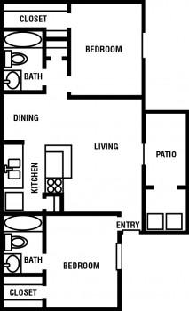 880 sq. ft. Willow floor plan