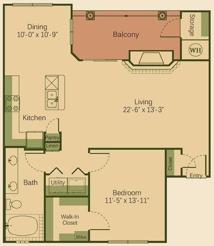 922 sq. ft. 1D-FP floor plan