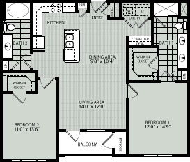 1,244 sq. ft. 2CA floor plan