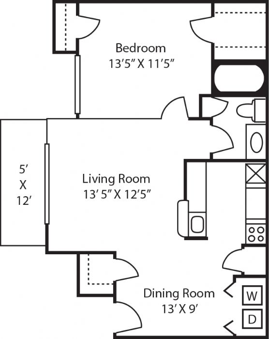 677 sq. ft. A2 floor plan