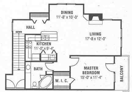 1,004 sq. ft. B floor plan