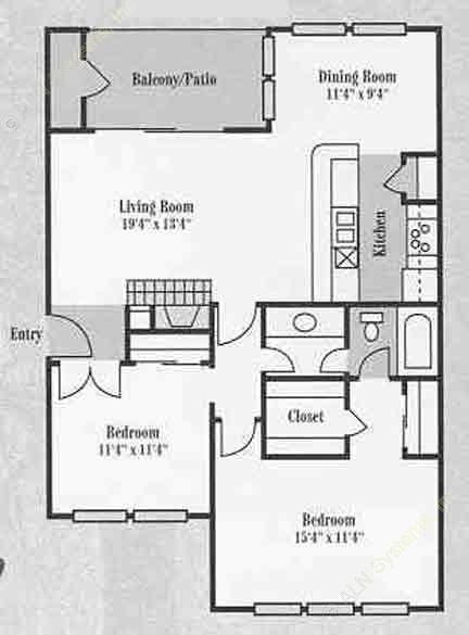 1,361 sq. ft. C1 floor plan