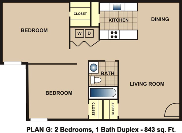843 sq. ft. G floor plan
