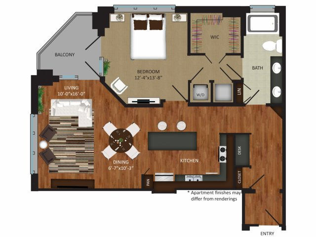 990 sq. ft. A11 floor plan
