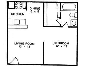 504 sq. ft. A floor plan