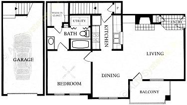 678 sq. ft. A5E-GAR. floor plan