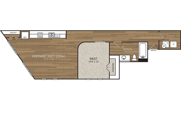 763 sq. ft. A8 floor plan