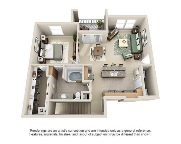 889 sq. ft. Durango floor plan