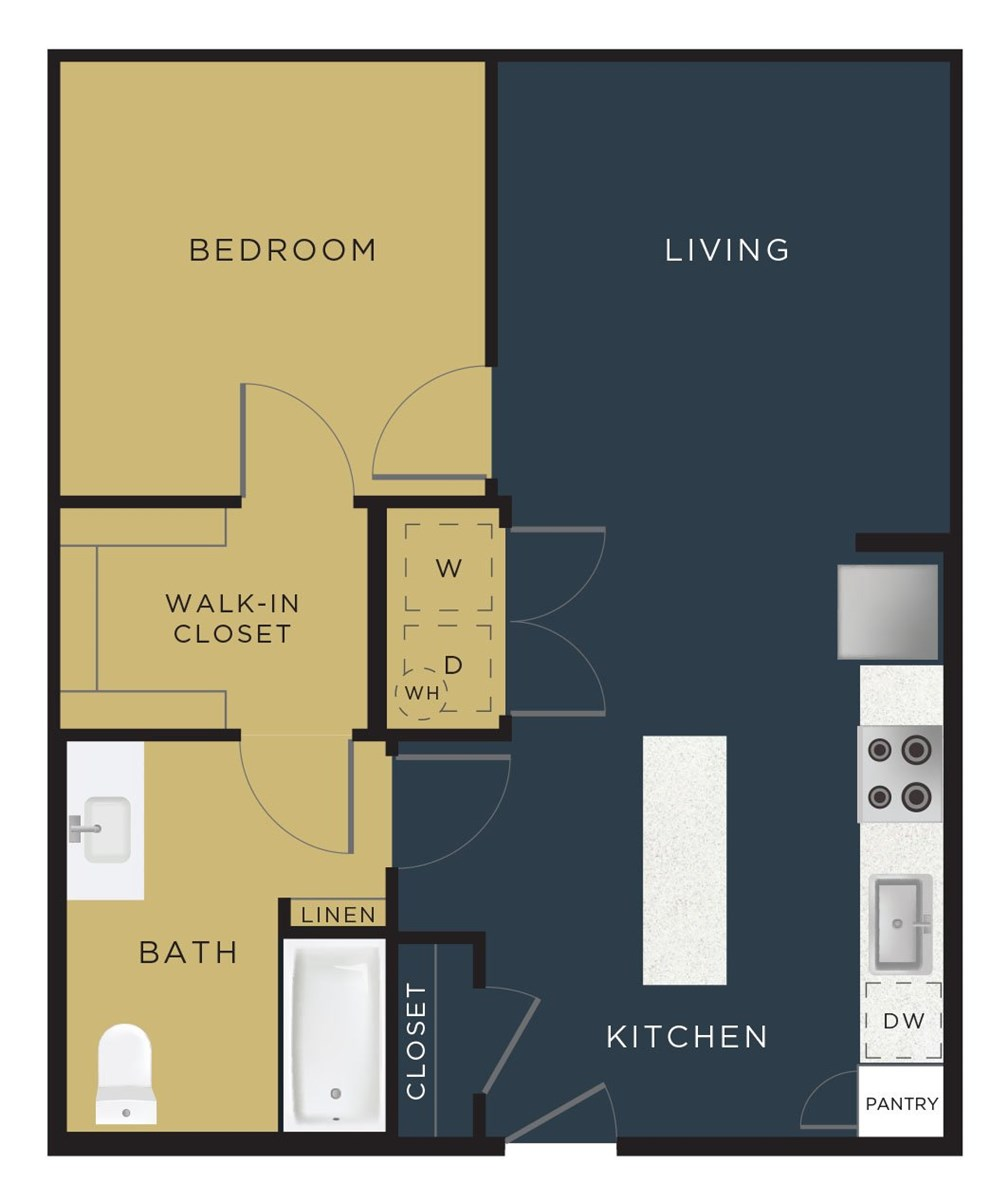 726 sq. ft. A2-A floor plan