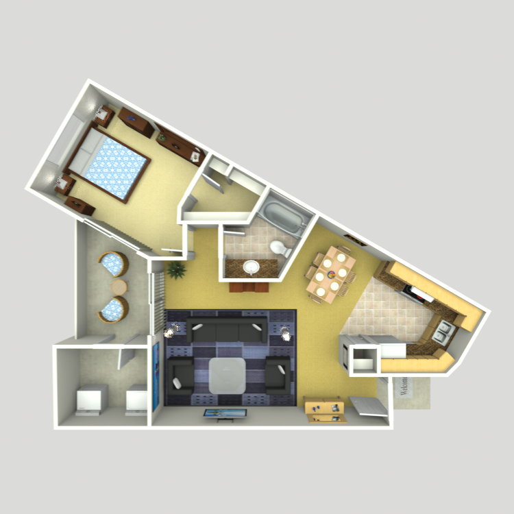 755 sq. ft. A-6 floor plan