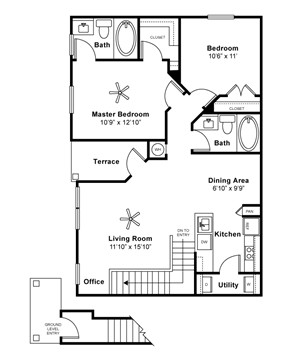 947 sq. ft. PEMBROOK II floor plan
