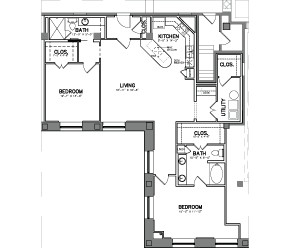 1,493 sq. ft. Unit 17E floor plan