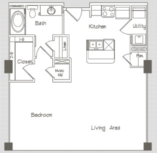 741 sq. ft. A1.0.S floor plan