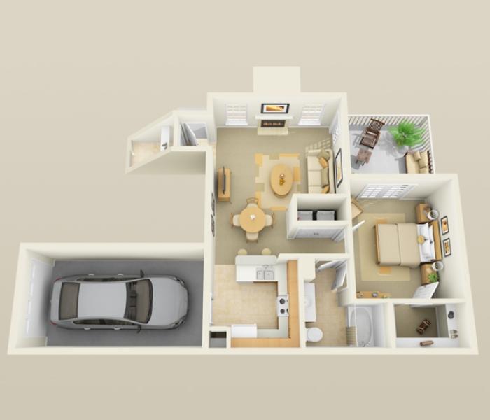777 sq. ft. A2 floor plan