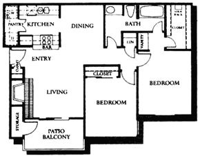 912 sq. ft. B1 floor plan