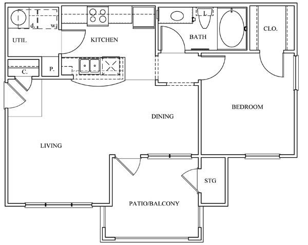 702 sq. ft. 11B-C floor plan