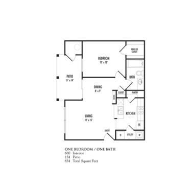 680 sq. ft. Tuscan floor plan
