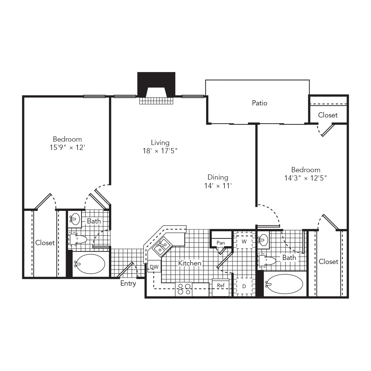 1,169 sq. ft. Flux floor plan