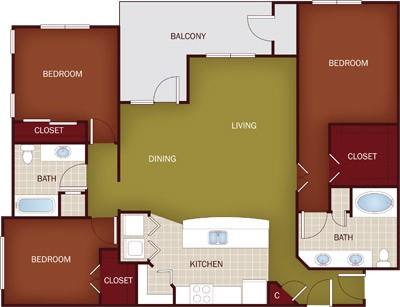 1,381 sq. ft. C1 floor plan