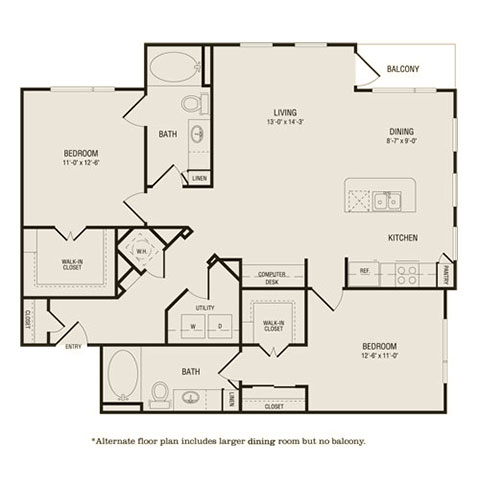 1,222 sq. ft. B1 floor plan