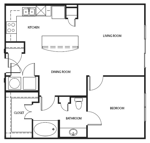 746 sq. ft. to 830 sq. ft. A4-E floor plan