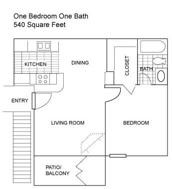 540 sq. ft. B floor plan