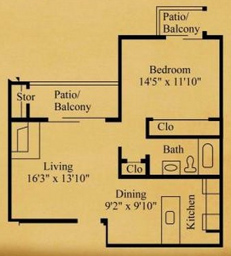 655 sq. ft. A-1 floor plan