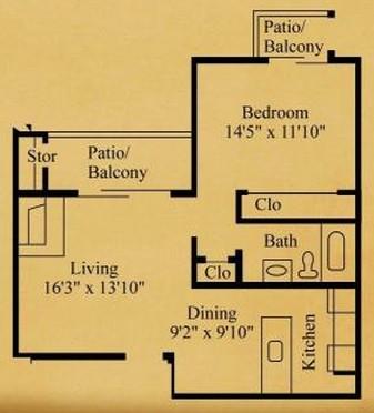 655 sq. ft. A-1 floor plan