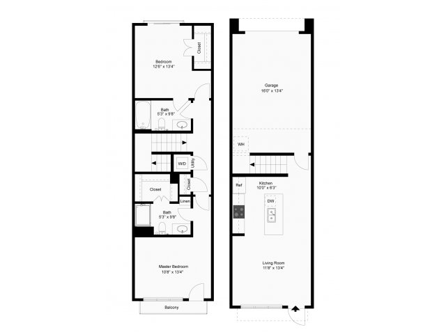 987 sq. ft. Lunar floor plan