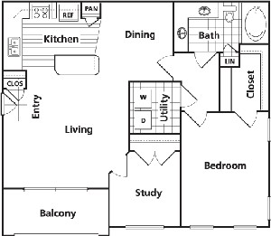 946 sq. ft. C floor plan