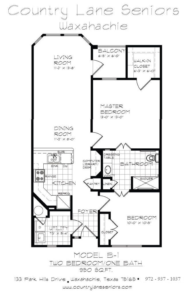 950 sq. ft. B1 50% floor plan