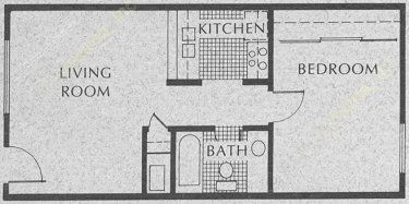 532 sq. ft. A1-1 floor plan