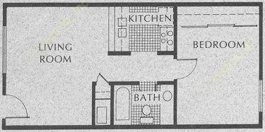 532 sq. ft. A1-1 floor plan